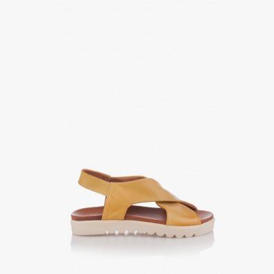 Жълти дамски кожени сандали Джийни