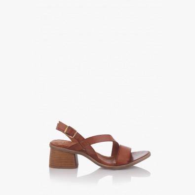 Кожени дамски сандали Айри цвят карамел