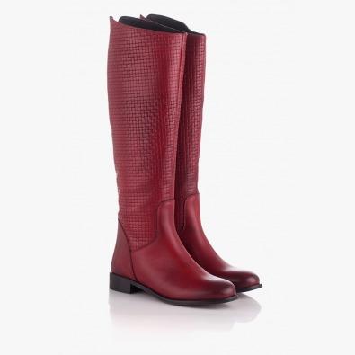 Кожени дамски ботуши в червен цвят