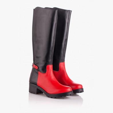 Кожени дамски ботуши черно и червено