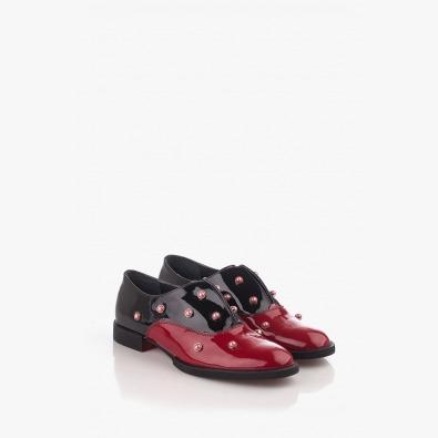 Дамски обувки червен и черен лак