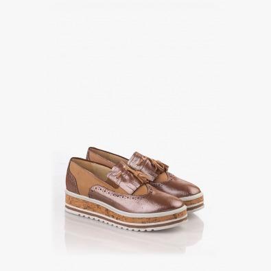 Кожени дамски обувки с аксесоар