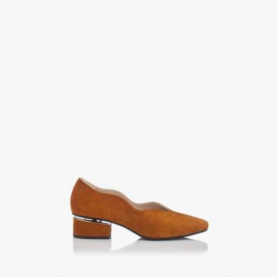 Велурени дамски обувки на ток Нора