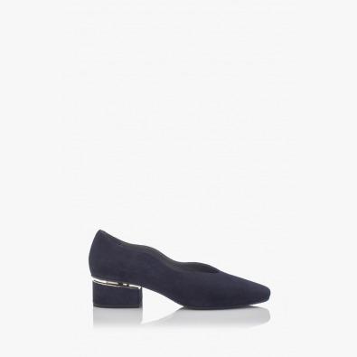 Дамски обувки на ток Нора син велур
