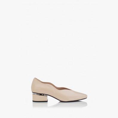 Дамски обувки на ток Нора бежов лак