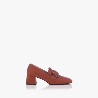 Дамски обувки на ток цвят карамел Елла