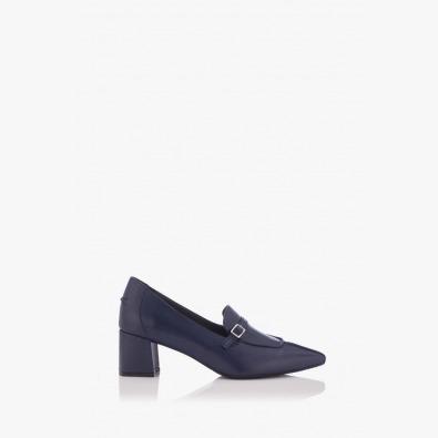Сини дамски кожени обувки Оливиа