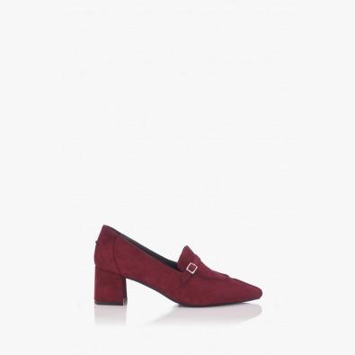 Велурени дамски обувки Оливиа цвят бордо