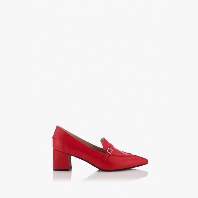 Червени дамски кожени обувки Оливиа