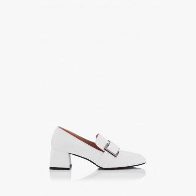 Кожени дамски обувки в бяло Елла