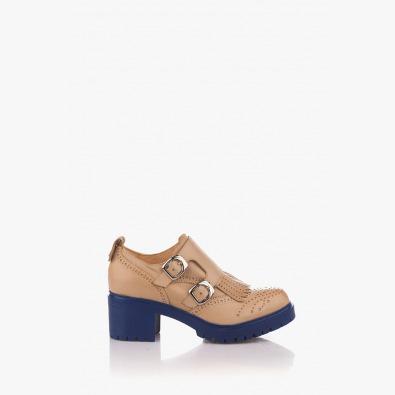 Кожена дамска обувка в бежово Бриана