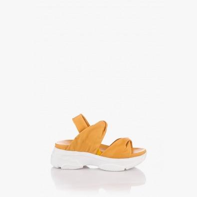 Жълти дамски кожени сандали на платформа Джуси
