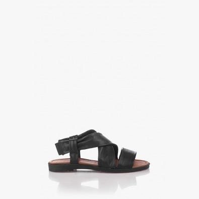 Кожени дамски сандали в черно Шърлин