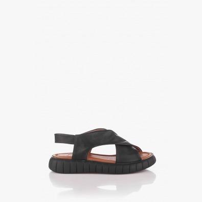 Черни кожени дамски сандали Карена