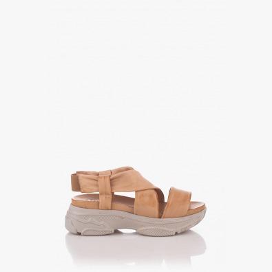 Бежови дамски сандали на платформа Джесика