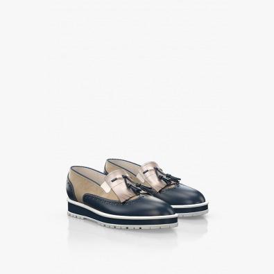 Кожени дамски обувки с синьо