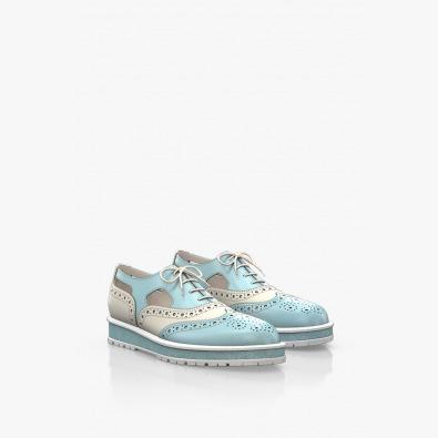 Кожени дамски обувки в синьо и бяло