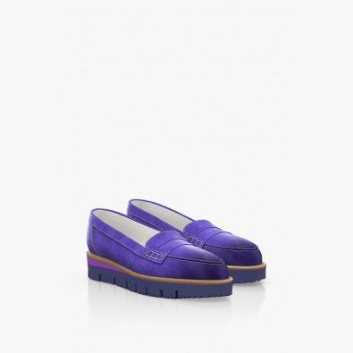 Велурени дамски обувки в лилав цвят