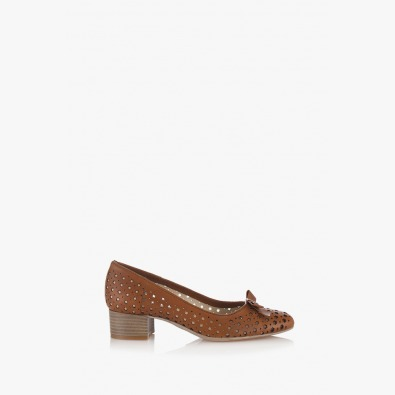 Перфорирани дамски обувки Ариана цвят карамел