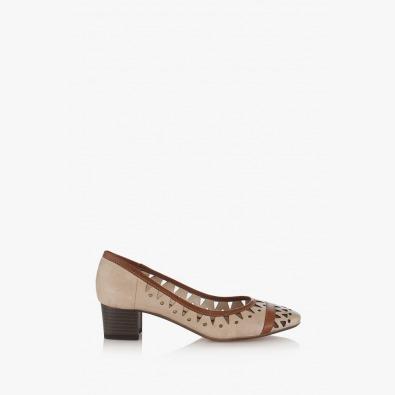 Бежови дамски обувки с перфорация Сийди