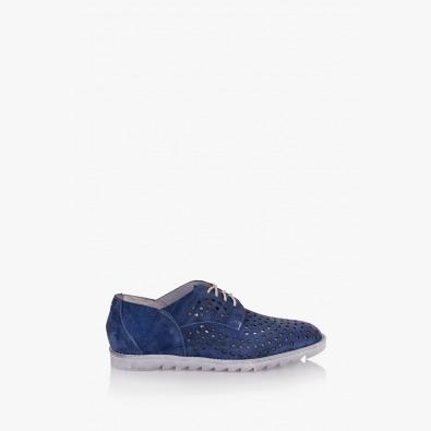 Дамски перфорирани обувки Британи в син велур