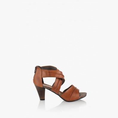Дамски кожени сандали Тейли цвят карамел
