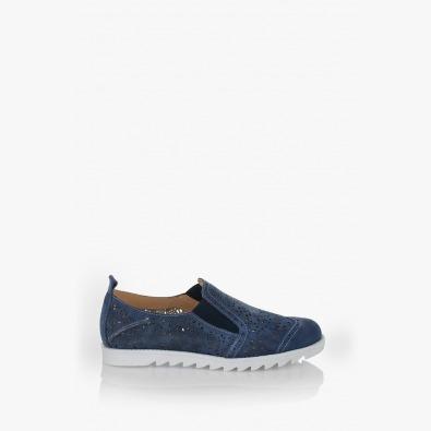 Сини велурени дамски обувки Фиори