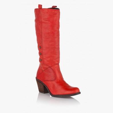 Червени дамски ботуши Брунн
