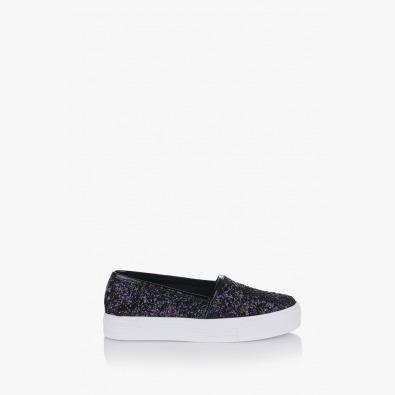 Цветни дамски обувки Каприс лилав и черен