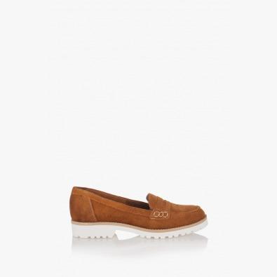 Велурени дамски обувки Лизи карамел