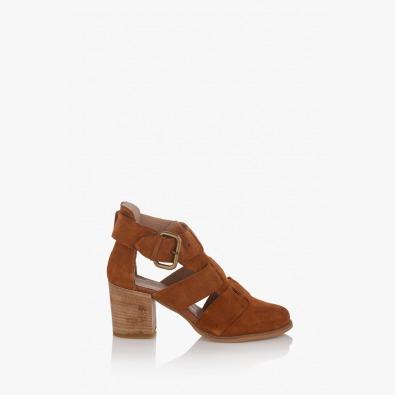 Дамски велурени сандали Белинда карамел