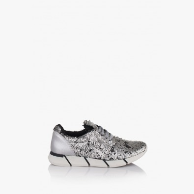 Сиви дамски спортни обувки с пайети Зари