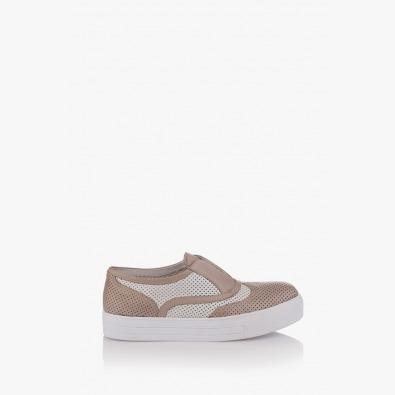 Дамски обувки с перфорация в сиво и айс Нати