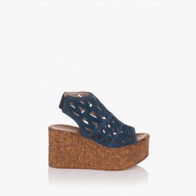 Сини велурени сандали с платформа Фелисити