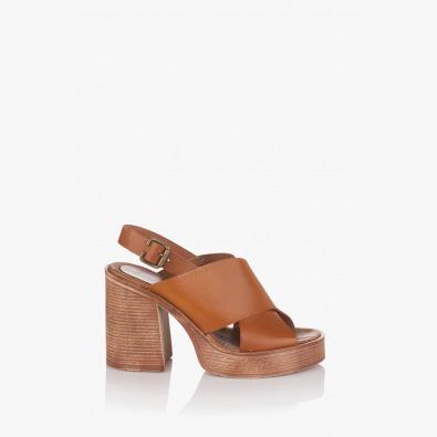 Дамски сандали кожа карамел Фрей