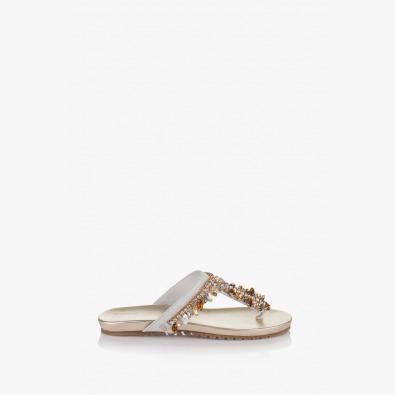 Дамски чехли в бяло с аксесоар Филомена