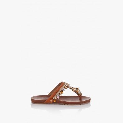 Дамски чехли в кафяво с аксесоар Филомена