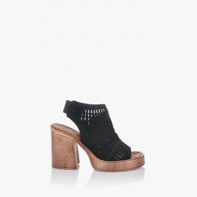 Велурени черни дамски сандали Дона