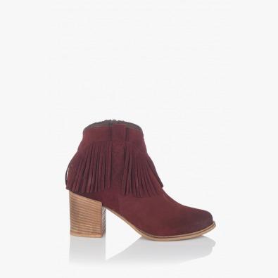 Велурени дамски боти цвят бордо с ресни Елоиса