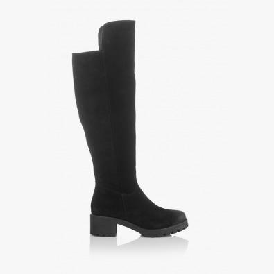 Черни велурени дамски чизми София
