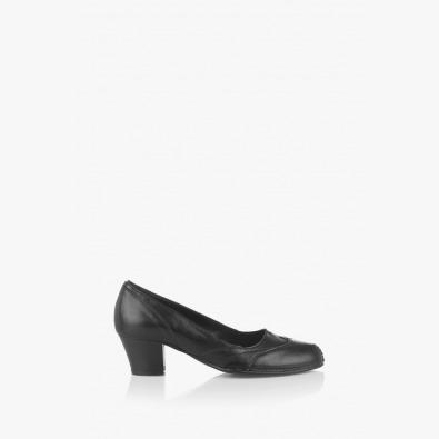 Дамски кожени обувки Флавия тъмно зелено - черно