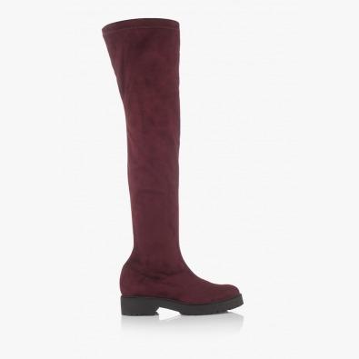 Дамски чизми в бордо стреч-велур Никол