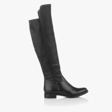 Черни кожени дамски чизми Вера