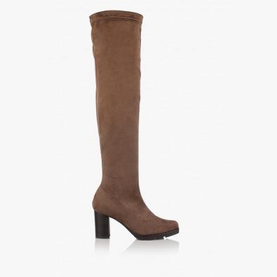 Дамски чизми стреч-велур Никол таупе