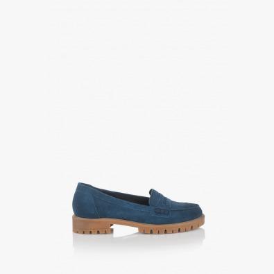 Сини велурени дамски обувки Сидни