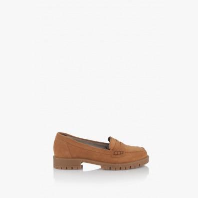 Велурени дамски обувки цвят карамел Сидни