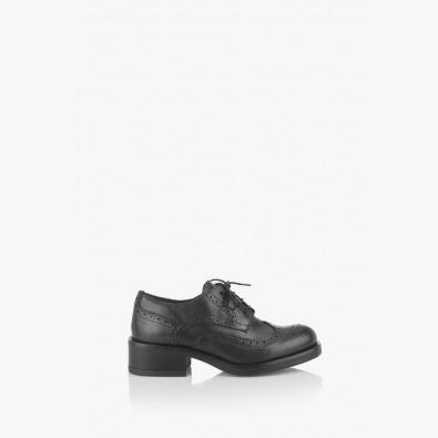 Черни дамски обувки с връзки Тониа