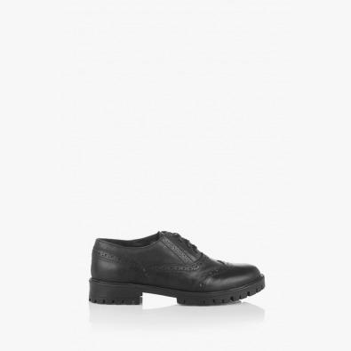 Черни дамски кожени обувки с връзки Тони