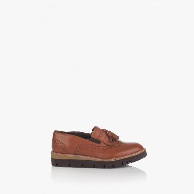 Ежедневни дамски обувки с пискюл Бамби карамел