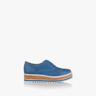 Сини кожени дамски обувки с перфорация Дани